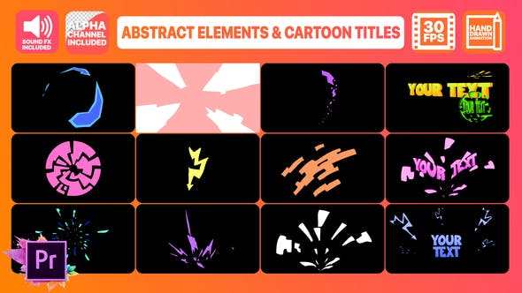 Thumbnail for Abstract Shapes And Cartoon Titles | Premiere Pro MOGRT