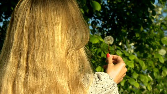 Thumbnail for Girl Blows Dandelion Slow Motion