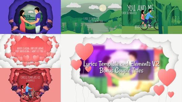 Thumbnail for Lyrics Template and Elements V.2 - Paper Cut Concepts