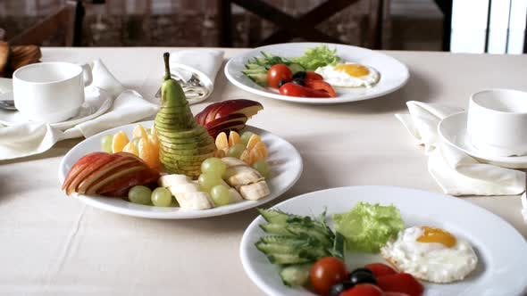 Thumbnail for Table with Healthy Breakfast for Two in Hotel Restaurant
