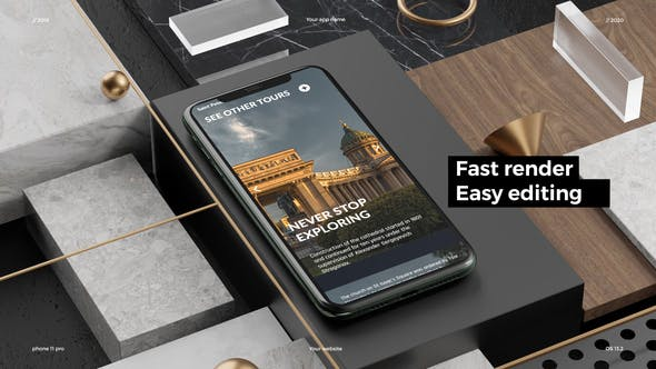 Thumbnail for Phone 11 Pro App Presentation Mockup