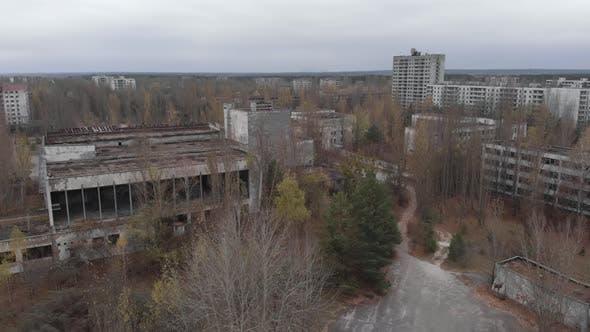 Chernobyl Exclusion Zone. Pripyat. Aerial.
