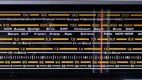 Cover Image for Tuning Analog Scale of the Retro Radio with the Names of Cities, Radio Stations and Frequency