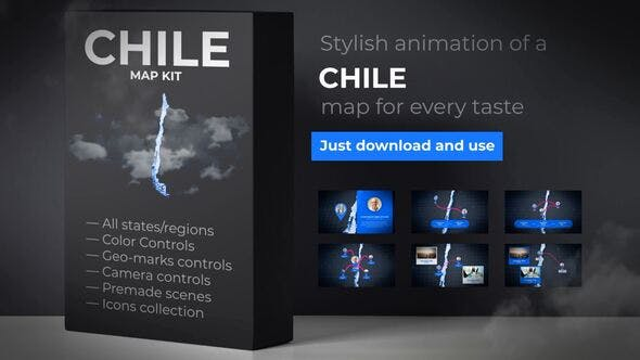 Thumbnail for Chile Map - Republic of Chile Map Kit