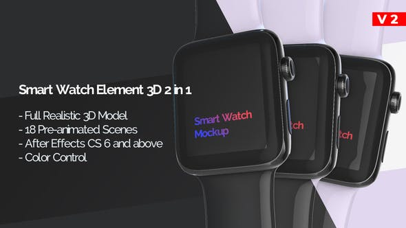 Thumbnail for Smart Watch 3D Model Mockup - App Promo