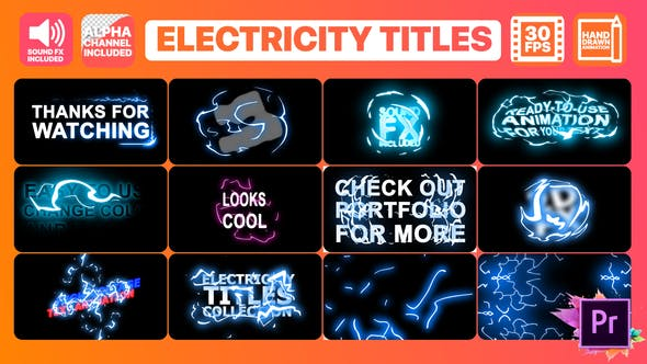 Thumbnail for Electricity Titles Collection | Premiere Pro MoGRT