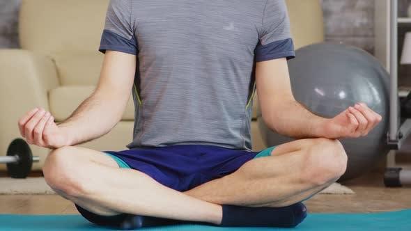 Guy Doing Yoga Home