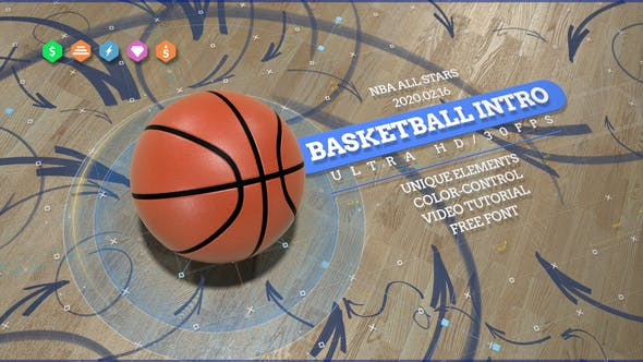Thumbnail for Basketball 4K Opener/ Action Sport Promo/ Active Game/ Basket Ball Logo/ NBA Intro/ Broadcast Bumper