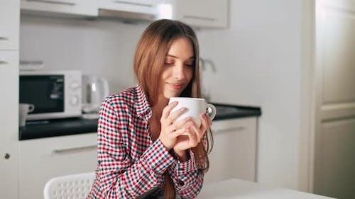 Woman Enjoy Coffee Aroma