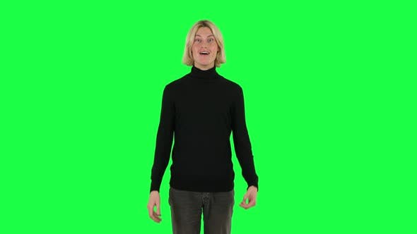 Cover Image for Blonde Surprised Guy with Shocked Wow Face Expression. Green Screen