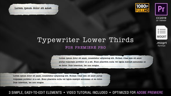 Thumbnail for Typewriter Lower Thirds | MOGRT for Premiere Pr