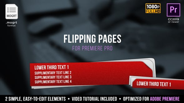 Thumbnail for Flipping Pages Lower Thirds | MOGRT for Premiere Pro