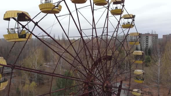 Thumbnail for Chernobyl Exclusion Zone. Pripyat. Aerial. Abandoned Ferris Wheel.