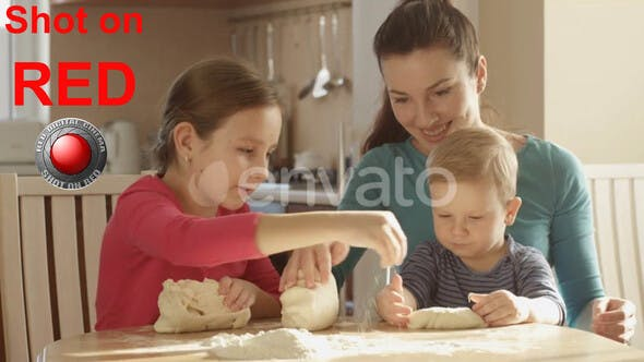 Cover Image for Happy Family Having Fun Time Cooking Together Pancakes Kneading Dough Mother Teaching Children