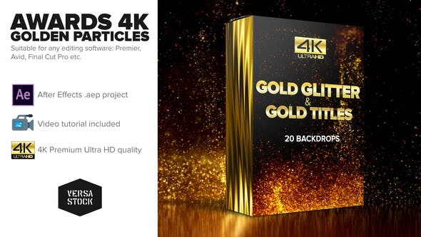 Thumbnail for Awards 4K Golden Glitter Particles Titles