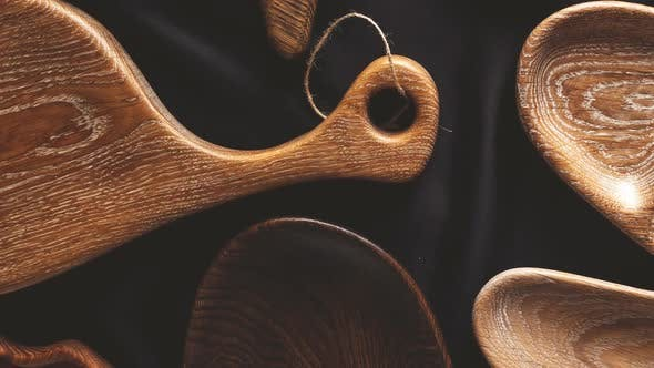 Set of Cutting Boards on Wooden Background