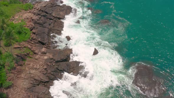 Rocks in the Ocean Viewed From Above in Tropical SriLanka