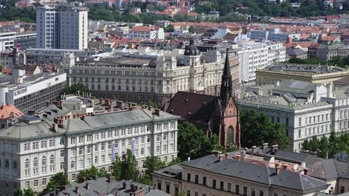 City View of Brno with Municipal Authorities and Gothic Church Czechia