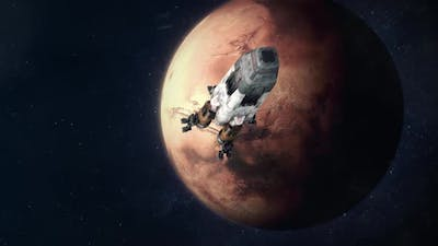Space Rocket Leaving Mars and Heading Back to Earth