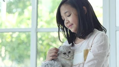 Cute Asian Girl Hugging And Holding Kitten