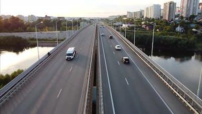 Highway Highway Bridge Over the River Bird's Eye View