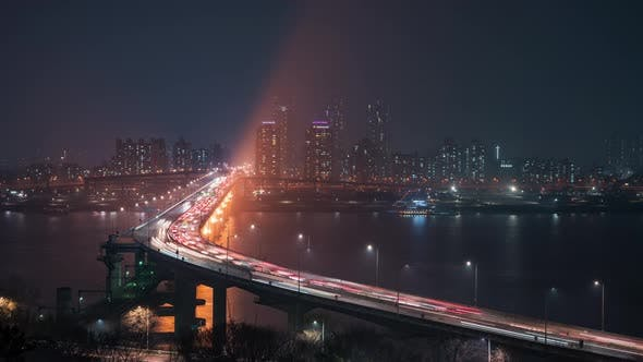 Thumbnail for Seoul, Korea,  Cheongdam Bridge at Night in Seoul
