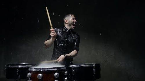 Photo Shoot Crazy Drummer in the Rain