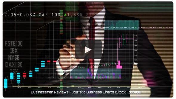 Businessman Reviews Futuristic Business Charts