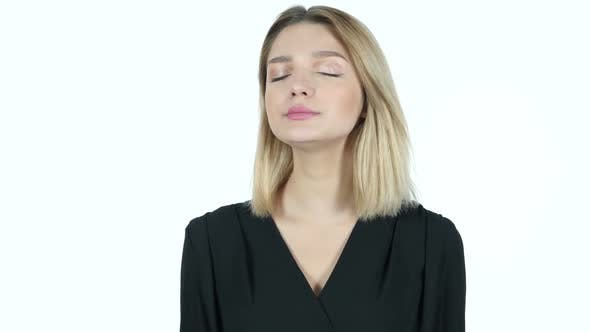 Cover Image for Yawning Tired Young Woman, White Background