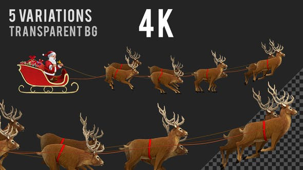 Thumbnail for Santa Claus Riding Sleigh with Reindeer - 5 Clips - 4K