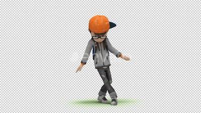 Cartoon Kid with Dancing Hip Hop 01