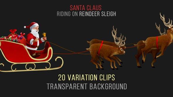 Santa Claus Riding Reindeer Sleigh - 20 Clips - HD