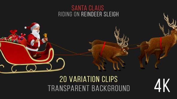Thumbnail for Santa Claus Riding Reindeer Sleigh - 20 Clips - 4K