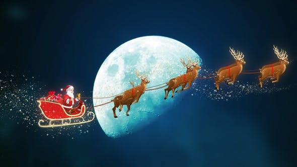 Thumbnail for Santa Claus Riding Reindeer Sleigh on Sky Crossing Moon