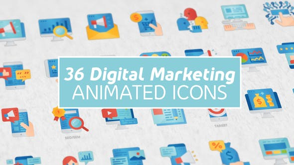 Thumbnail for Digital Marketing Modern Flat Animated Icons