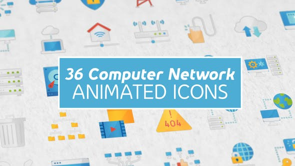 Computer Network Modern Flat Animated Icones
