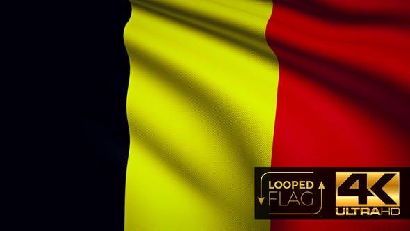 Thumbnail for Flagge 4K Belgien auf realistische Looping-Animation mit sehr detailliertem Stoff