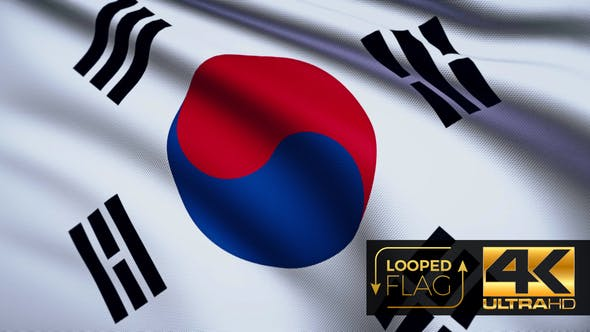 Thumbnail for Flag 4K South Korea On Realistic Looping Animation With Highly Detailed Fabric