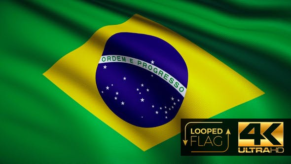 Flag 4K Brazil On Realistic Looping Animation With Highly Detailed Fabric