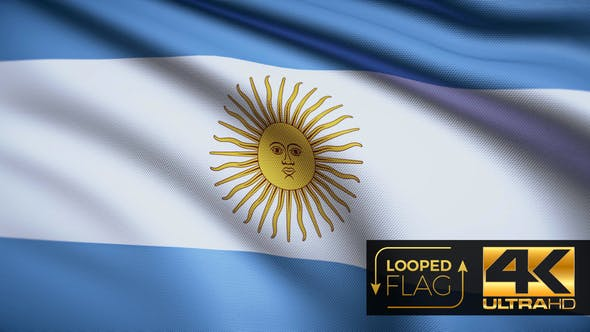 Thumbnail for Flag 4K Argentina On Realistic Looping Animation With Highly Detailed Fabric