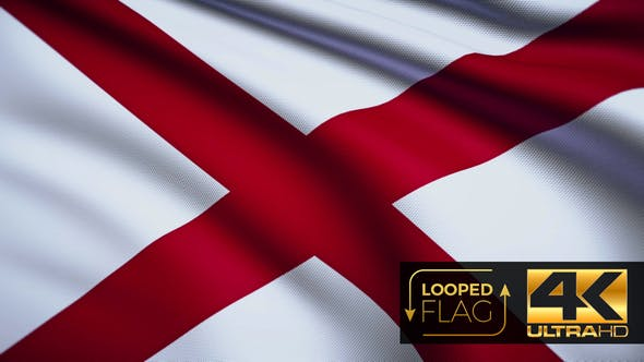 Thumbnail for Flag 4K Alabama On Realistic Looping Animation With Highly Detailed Fabric