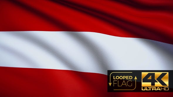Thumbnail for Flag 4K Austria On Realistic Looping Animation With Highly Detailed Fabric