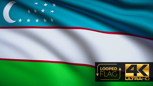 Flag 4K Uzbekistan On Realistic Looping Animation With Highly Detailed Fabric