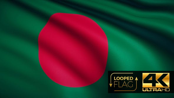 Thumbnail for Flag 4K Bangladesh On Realistic Looping Animation With Highly Detailed Fabric