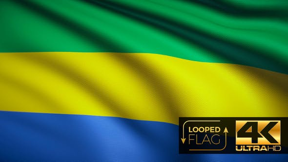 Thumbnail for Flag 4K Gabon On Realistic Looping Animation With Highly Detailed Fabric