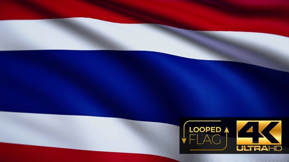 Thumbnail for Flag 4K Thailand On Realistic Highly Detailed Fabric