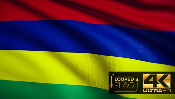 Thumbnail for Flag 4K Mauritius On Realistic Highly Detailed Fabric