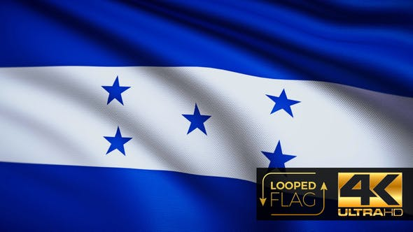 Thumbnail for Flag 4K Honduras On Realistic Looping Animation With Highly Detailed Fabric