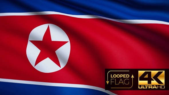 Thumbnail for Flag 4K North Korea On Realistic Looping Animation With Highly Detailed Fabric