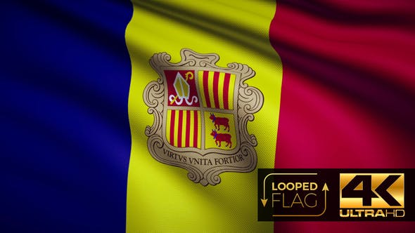 Thumbnail for Flag 4K Andorra On Realistic Looping Animation With Highly Detailed Fabric